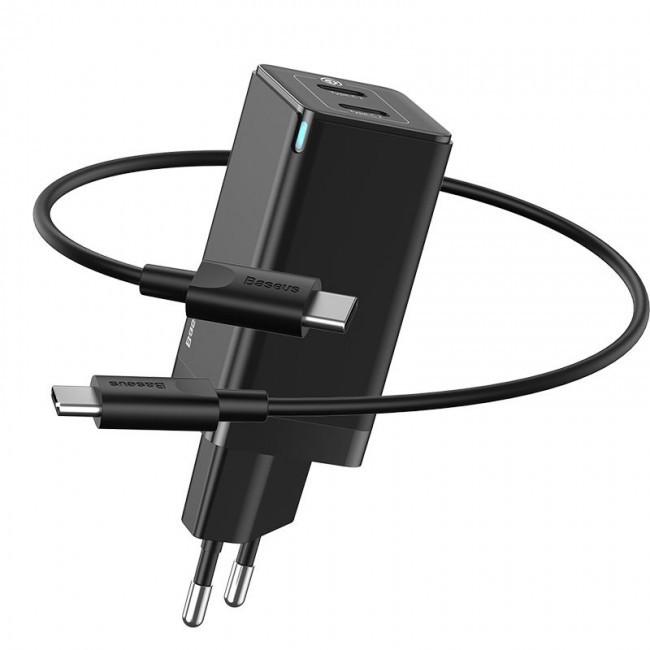Швидке зарядний пристрій Baseus GaN2 Quick Charger 45W Type-C + Type-C (з кабелем Type-C to Type-C