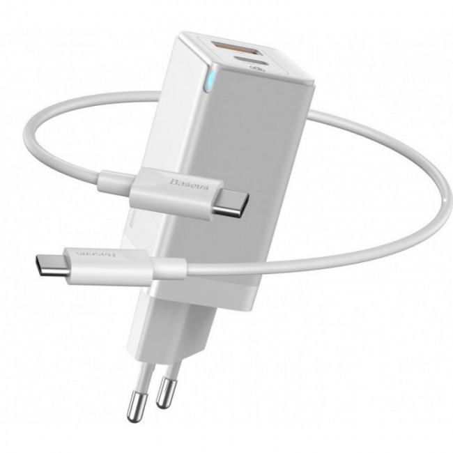 Быстрое сетевое зарядное устройство Baseus GaN2 Quick Charger 45W Type-C + USB-A (с кабелем Type-C to Type-C