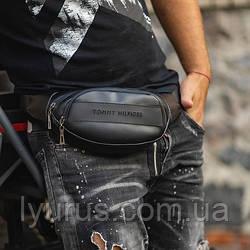 Шкіряна поясна сумка, Бананка, барсетка томі, Tommy HilFiger. Чорна