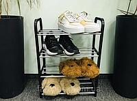 Полка, Стойка, Подставка для обуви, 4 - ярусная. Черная