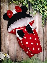 Конверт-одеяло на выписку с ушками  Минни Маус 78х78 см