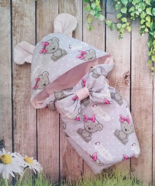 Конверт на выписку Мишки,  конверт- одеяло для новорожденных весна- лето-осень