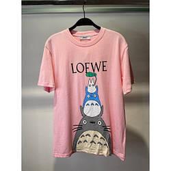 Футболка женская хлопковая Low с котиками розовый