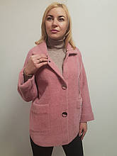 Женское укороченное пальто из шерсти альпака