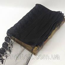 Кружево на сетке (фатине) Sindtex 15см (13м) Цвет - Черный (77-МТ755-2)