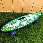 Скейтборд пенни борд со светящимися колесами с рисунком пенни борд с ручкой пенні борд пенниборд пениборд зел