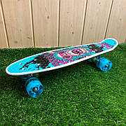 Скейтборд пенни борд со светящимися колесами с рисунком пенні борд пенниборд пениборд горрила