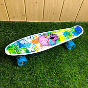 Скейтборд пенни борд со светящимися колесами с рисунком пенні борд пенниборд пениборд череп цветной