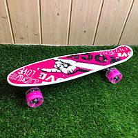 Скейтборд пенни борд со светящимися колесами с рисунком пенні борд пенниборд пениборд рок розовый