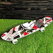 Скейтборд пенни борд со светящимися колесами с рисунком пенни борд с ручкой пенні борд пенниборд пениборд