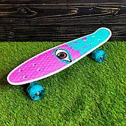 Скейтборд пенни борд со светящимися колесами с рисунком пенні борд пенниборд пениборд розовый бирюзовый