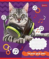 Нотная тетрадь 1B А5/12 л. Pets in headphone