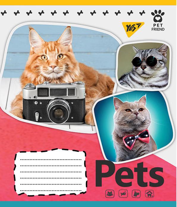 Тетрадь А5/12 кос. YES Pets shoot, 25 шт/уп.