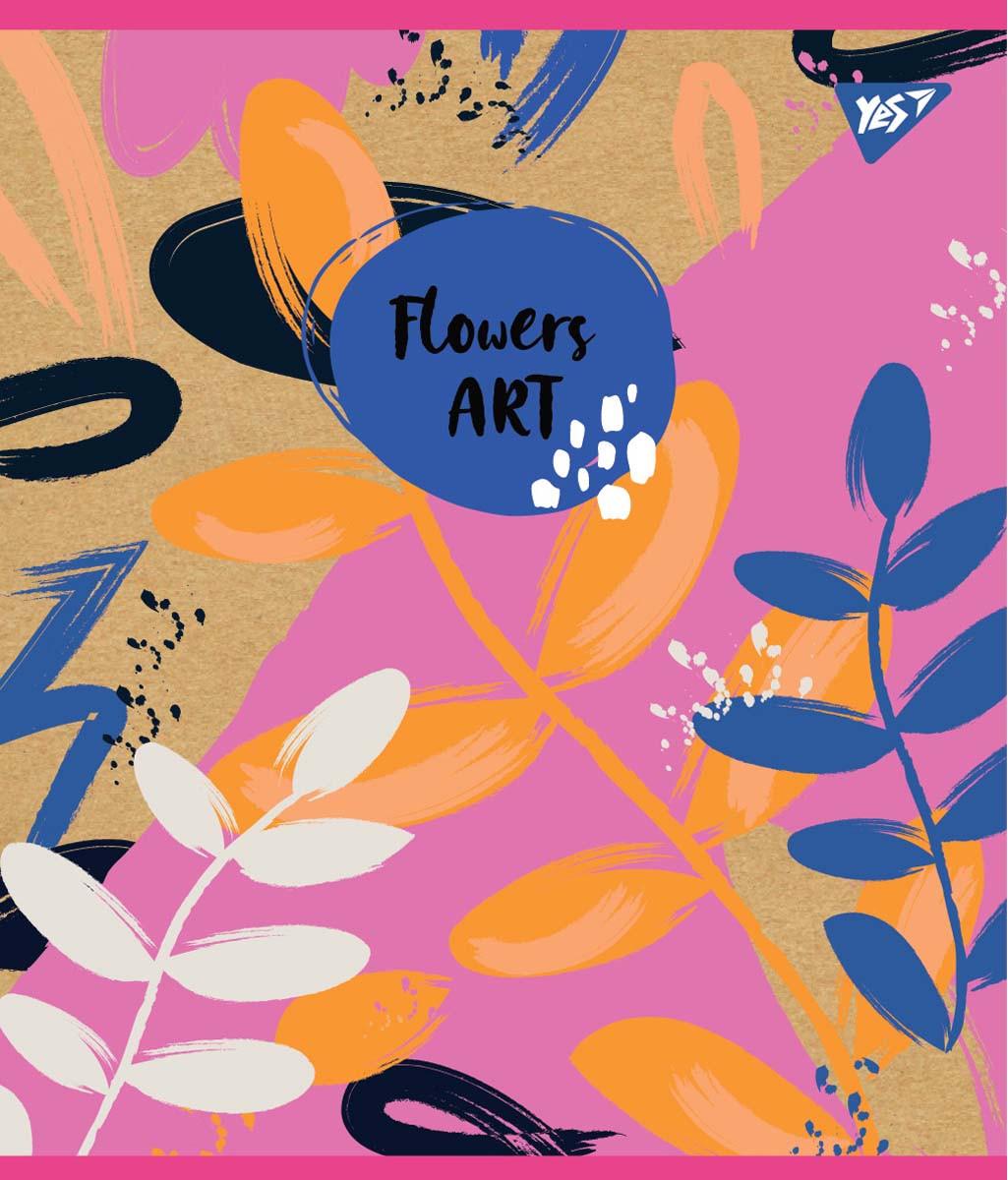 """Зошит для записів А5 / 48 лін. YES """"Flowers art"""" крафт, білила + гліттер, 5 шт / уп."""