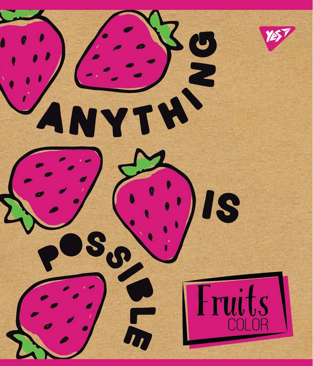 """Тетрадь для записей А5/48 лин. YES """"Fruits color"""" крафт, белила, 5 шт/уп."""