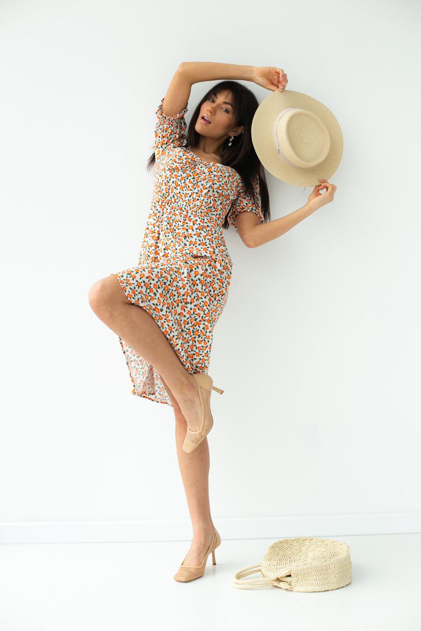 Цветочное платье-миди с короткими рукавами SHENAZ - терракотовый цвет, L (есть размеры)