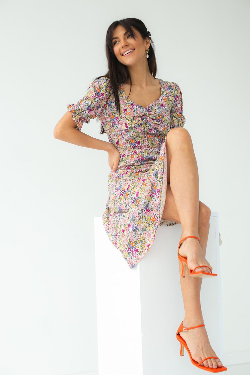 Квіткове плаття-міді з короткими рукавами SHENAZ - лавандовий колір, S (є розміри)
