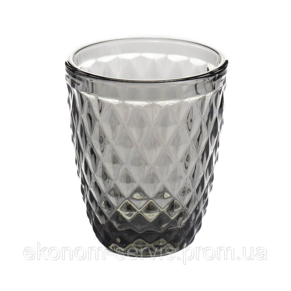 Набір чорних низьких склянок для напоїв Кварц 6 шт 240 мл