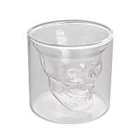 Набор стаканов с двойными стенками Череп Helios для алкогольных напитков 80 мл 2шт в наборе (6735)