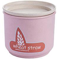 """Банка для хранения из пшеничной шелухи """"Эко""""10,5*9,5см R87777 розовая"""