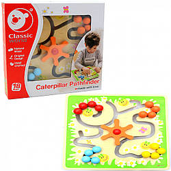 Игрушка развивающая для детей Classic World «Гусеница следопыт», натуральное дерево (2797)