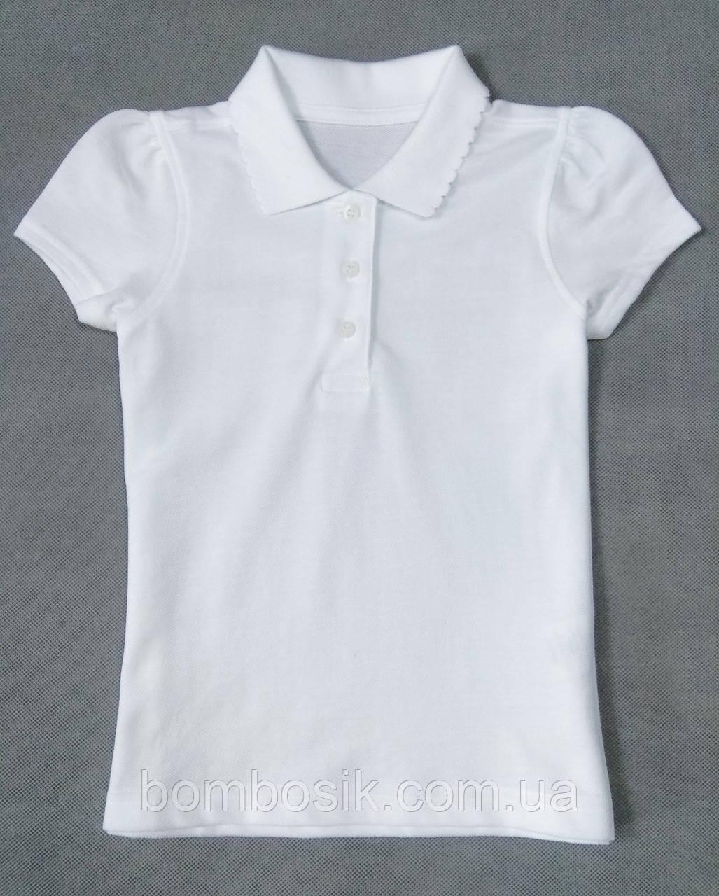 Футболка поло белая George для девочки Regular Fit, 4-5л (104-110см)