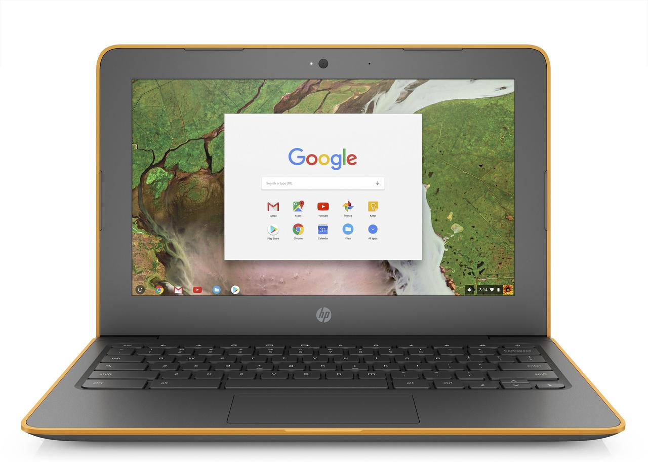 Ноутбук HP Chromebook 11A G6 EE-AMD A4-9120C-1.2 GHz-4Gb-DDR4-32Gb-SDD-W11.6-Web-(сіро-помаранчевий)-(B)- Б/У