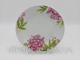 Тарелка мелкая десертная керамическая белая цветная с рисунком закусочная Гортензия в упаковке 12 штук D 20 cm