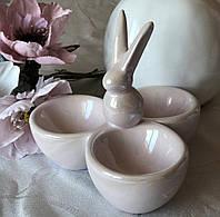 Керамическая подставка для 3 яиц Розовый Кролик, фото 1