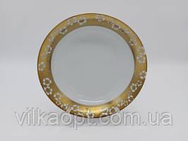 Тарелка глубокая столовая керамическая с позолотой Золотой цветок для супа Миска для первых блюд суповая 350мл