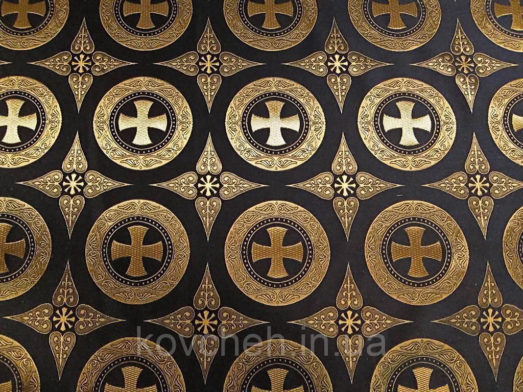 Шовкова церковна тканина Дамаск чорний