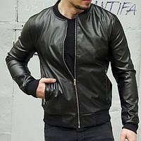 Стильная кожаная мужская куртка из экокожи черная | Кожанка весна осень Турция