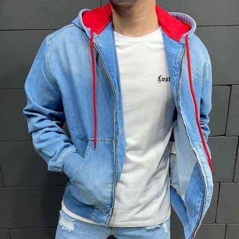 Стильна джинсова куртка на блискавці з капюшоном блакитна | Модна джинсовці виробництво Туреччина