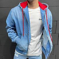 Стильна джинсова куртка на блискавці з капюшоном блакитна | Модна джинсовці виробництво Туреччина, фото 1
