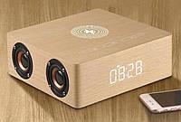 """Стильные деревянные часы + Мощная блютуз колонка """"Wood Wireles BT Clock Q5A"""" с беспроводной умной зарядкой"""