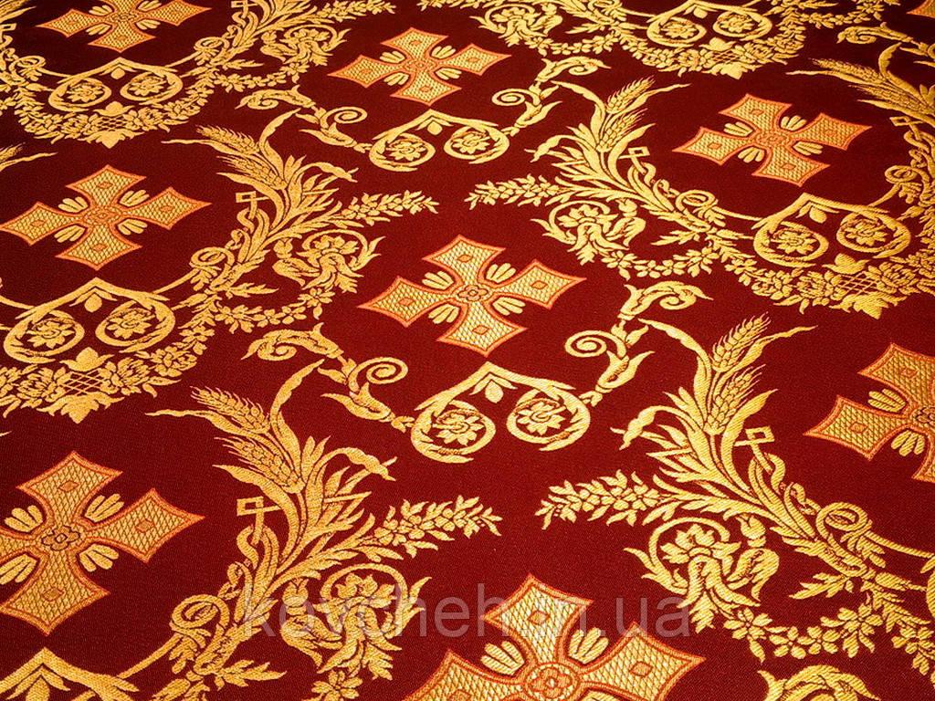 Шовкова церковна тканина Колоссия бордова з золотом