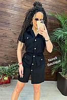 Летнее платье в стиле милитари цвет Черный размер от 44-54, фото 1