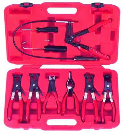 Набір щипців для зняття і установки хомутів і шлангів 9пр., у кейсі, фото 2