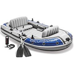 Четырехместная надувная лодка Intex 68324 Excursion 4 Set, 315 х 165 см,  (весла, ручной насос). 3-х камерная