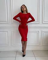 Сукня трикотажна однотонна жіноча ЧЕРВОНА (ПОШТУЧНО), фото 1