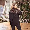 Блуза жіноча верх гіпюр креп-софт 48-50,52-54,56-58, фото 3