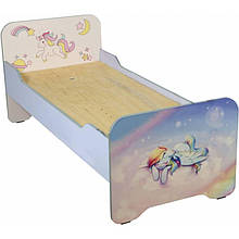 Кровать детская с фотопечатью с закругленными перилами с фотопечатью, без матраса (60x140)