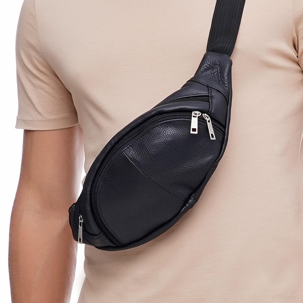 Кожаная сумка на пояс Moon, цвет Черный