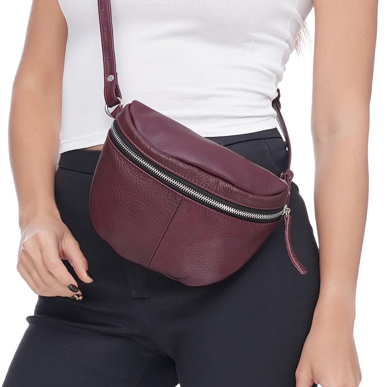 Кожаная женская сумка Modern (с подкладкой), цвет Бордо