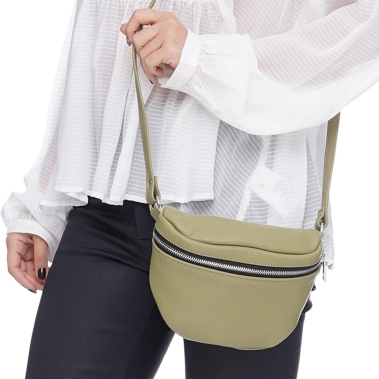 Кожаная женская сумка Modern (с подкладкой), цвет Олива