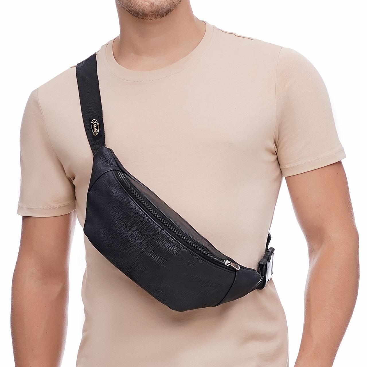 Кожаная сумка на пояс City, цвет Черный