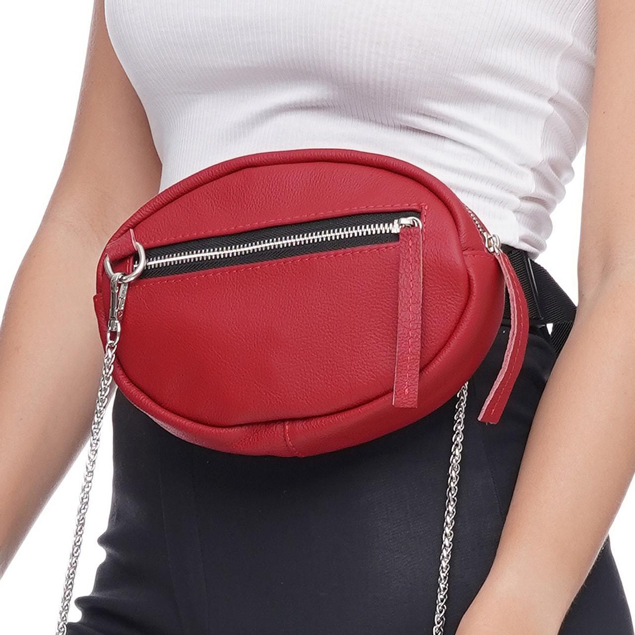 Кожаная женская сумка Jane, цвет Красный