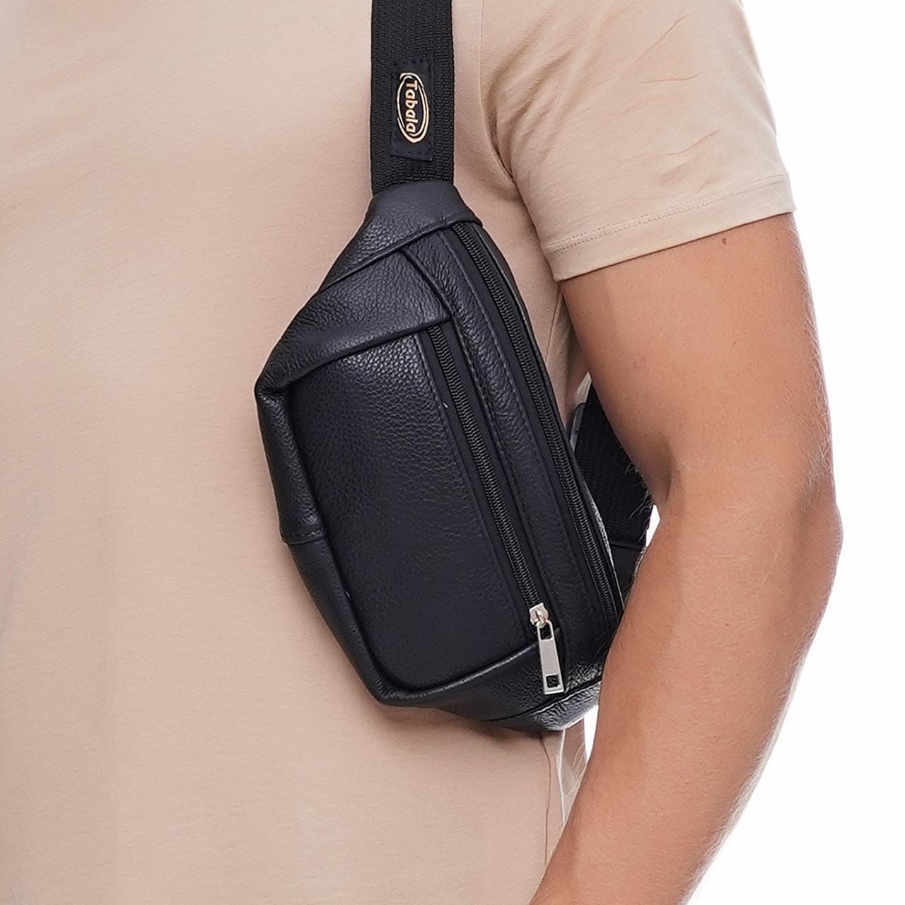 Кожаная сумка на пояс Prima (с карманом), цвет Черный
