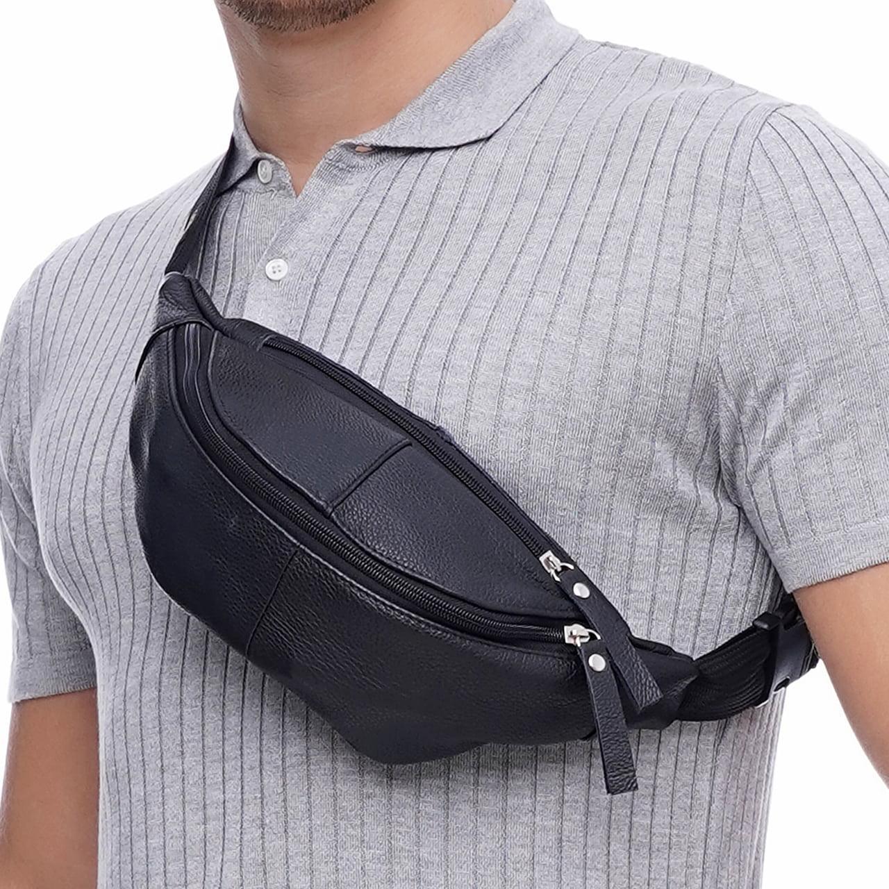 Кожаная сумка на пояс Vita, цвет Чорный