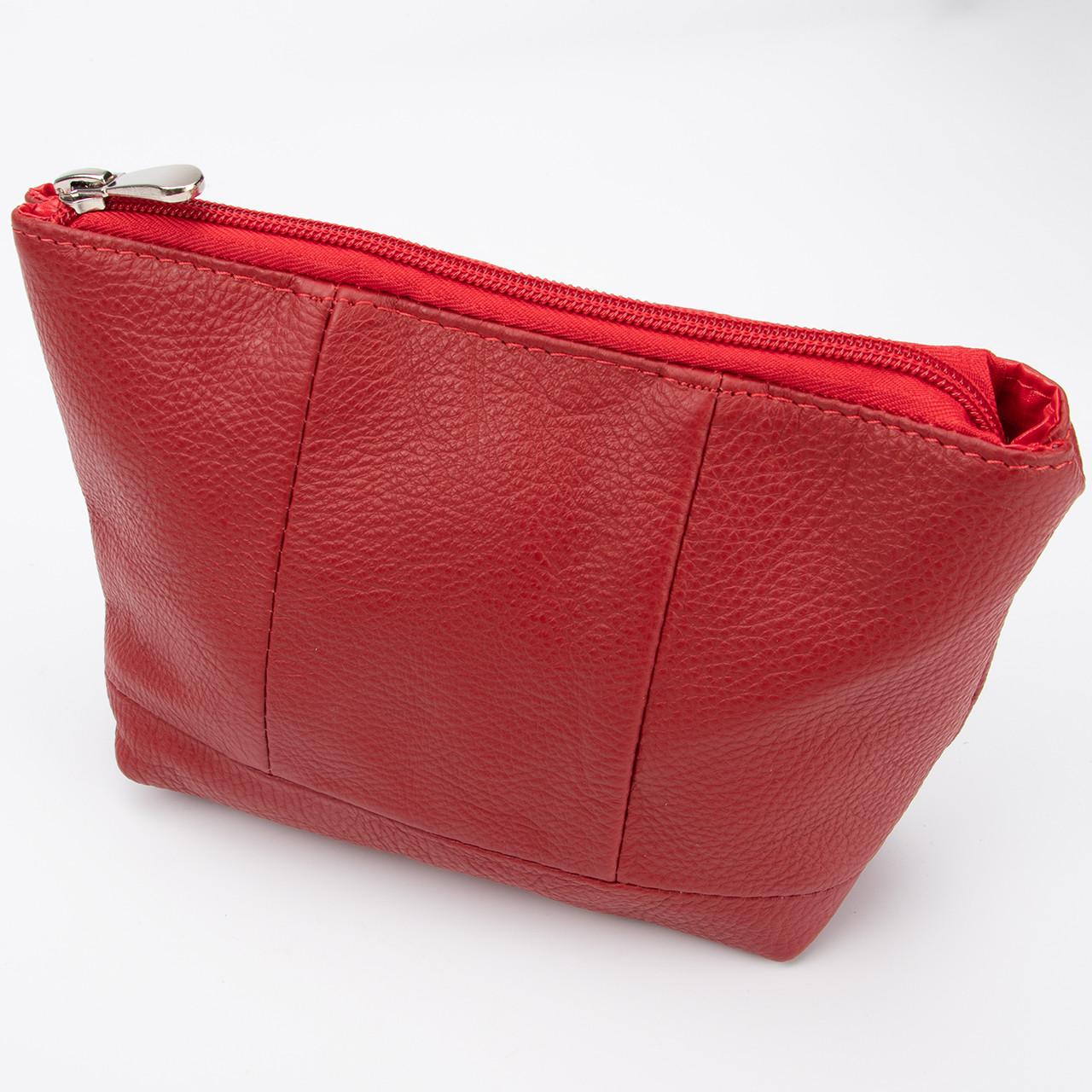 Кожаная косметичка с подкладкой, цвет Красный
